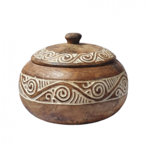 Handmade Products Timor Hand Carved Wood Bowl with Lid