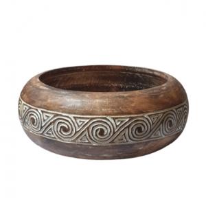 Hand Carved Tribal Timor Artwork Fruit Bowl