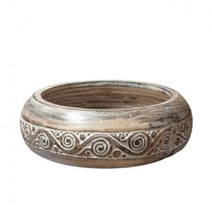 Timor Hand Carced Large Wood Fruit Bowl