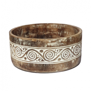 Characterized by its intricate swirl carving pattern, this impressive hand carved Timorese wooden fruit bowl with lid is a stunning piece of artworks in wood carving. This piece of handmade wooden bowl artwork from Timor is a perfect decorative piece for your home interior or perhaps as a beautiful focal points in your outdoor space.